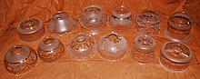 Qty 12 Pieces of Vintage Mixed Frosted Etched Glass Lamp Globe Shades