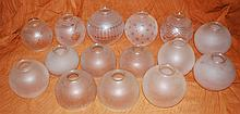 Qty 15 Pieces of Vintage Mixed Frosted Etched Glass Lamp Globe Shades