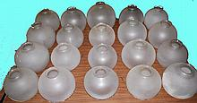 Qty 20 Pieces of Vintage Mixed Frosted Etched Glass Lamp Globe Shades