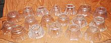 Qty 18 Pieces of Vintage Mixed Frosted Etched Glass Lamp Globe Shades.