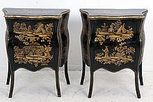 PAIR OF CONTINENTAL CHINOISERIE LACQUERED PETIT COMMODES
