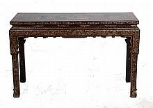 CHINESE EXPORT GILDED & EBONIZED ALTAR TABLE