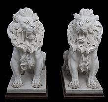 PAIR OF CARVED MARBLE SEATED LIONS
