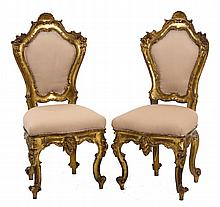 PAIR OF ITALIAN BAROQUE GILTWOOD SIDE CHAIRS