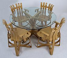 FRANK GEHRY FOR KNOLL BENT MAPLE TABLE & FOUR CHAIRS