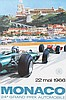 MICKAËL TURNER (XXème)  24ème Grand Prix de Monaco, 1966  Affiche lithographique originale couleur Edition Jacques Ramel, Nice Dimensions : 60 x 40 cm