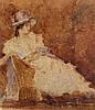 IVANOV, Ecole russe XIX-Xxème  L'élégante au chapeau  Belle aquarelle sur carton signée en bas à gauche, datée 1922, contresignée au dos avec nombreuses inscriptions. Dimensions : 35 x 32 cm
