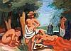 LEON DEVOS (1897-1974)  Les baigneuses au parc  Importante huile sur panneau signée en bas à droite. De style Art-Déco, porte au dos une étiquette d'exposition par la Province de Brabant en 1948. Dimensions : 50 x 65 cm