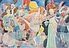 VICTOR ZARETSKY (1925-1990)  La danseuse de cabaret  Technique mixte, peinture à la gouache, crayon et encore sur papier, signée en bas à droite et datée 1986. Dimensions : 44 x 62 cm