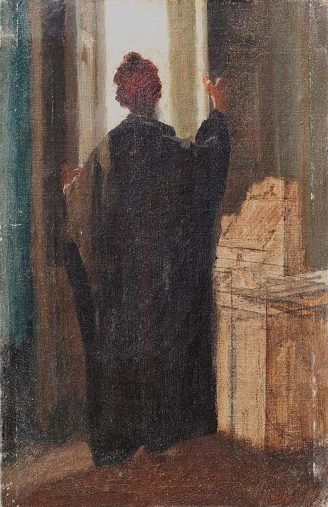 Attribué à EDGAR DEGAS (1834-1917)  Etude d'un personnage de dos à la fenêtre.