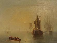 ECOLE FRANCAISE 19ème « Marine au lever du soleil »