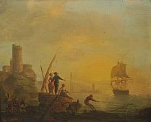 CHARLES-FR. LACROIX de MARSEILLE (1700-1782) Entourage Pêcheurs au coucher de soleil