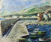 JACQUES DES ROCHES (France 20ème) « Port de Menton 1949 »