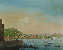 NICOLA AMOZE ( ?), Italie 19-20ème) Vues animées de la baie de Naples