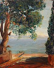 RENEE CARPENTIER-WINTZ (1913-2003) « Vue de Menton depuis Cap-Martin »