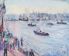 JOSE DESIDERIO ROSSO (1898-1958) Le port de Buenos Aires