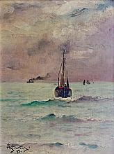 ALFRED STEVENS (1823-1906) Marine par temps de brume, 1895