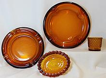 1950s LE SMITH WESTMORELAND BLOWN AMBER GLASS ITEMS XW