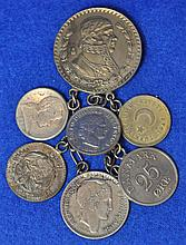 VINTAGE FOREIGN COIN PIN BROOCH JEWELRY DANGLE XK