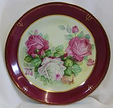 1920s C TIELSCH HP TEA ROSES GIANT PORCELAIN CHARGER XW