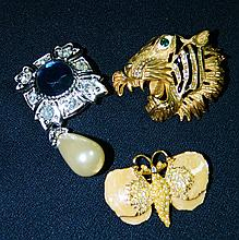 3pc CONTEMPORARY BROOCH TIGER BUTTERFLY SGND XR