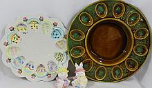 EGG PLATE MAURICE CAL & BOXED SET EASTER SALT PEPPER XW