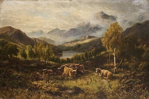 William Langley (1852-1922) Cattle in Highland