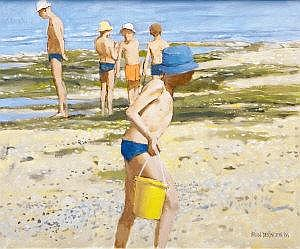 Brian Denington Figures on the beach Oil on
