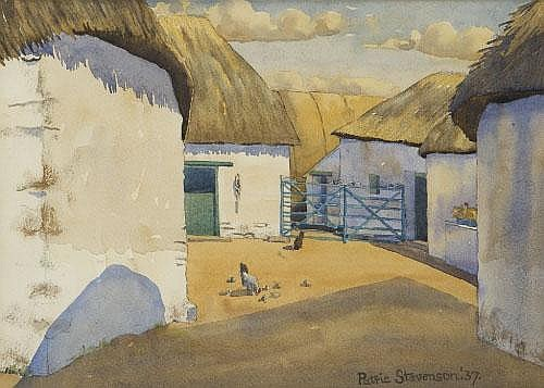 Patric Stevenson (1909-1983) Cottages at