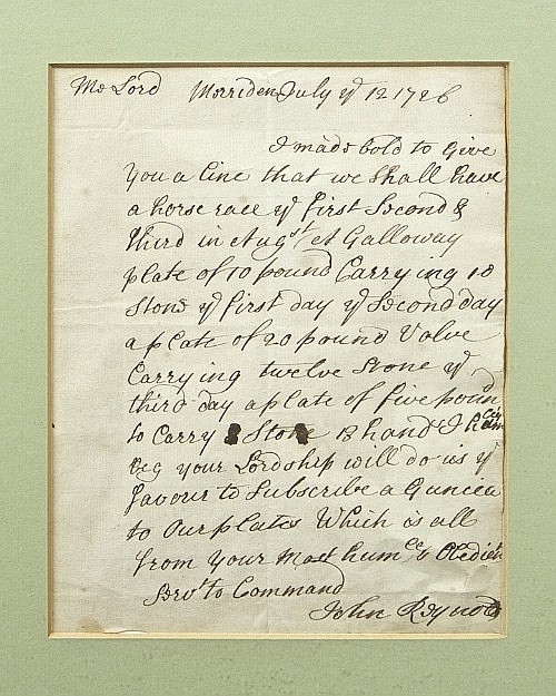 AN UNUSUAL FRAMED LETTER FROM JOHN REYNOLDS dated