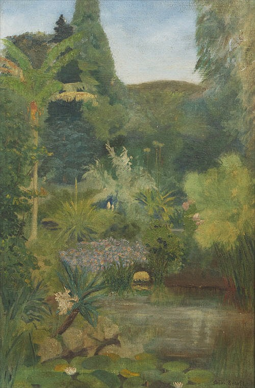 ANTON KNIGHT (AMERICAN) Tropical Garden with Lake