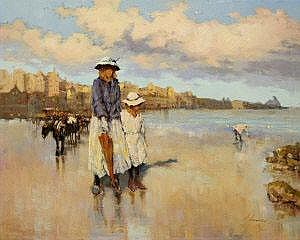 Ken Moroney (b.1949) Afternoon Stroll on the Beach