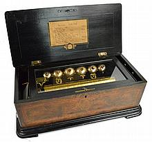 A late 19th century Swiss cylinder musical box