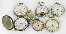 A mixed lot comprising four silver pocket watches,