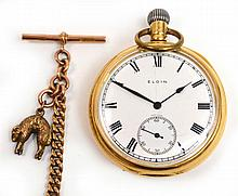 An 18ct gold open face pocket watch with circular