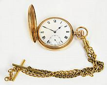 A 9ct gold hunter cased crown wind pocket watch,