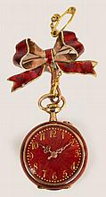 A 14ct gold red enamelled fob watch with circular