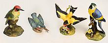 Three Royal Crown Derby figures; ''Woodpecker'',