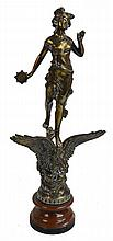 A large late 19th century gilded spelter figure of