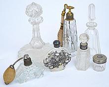 Six glass scent bottles and a small glass jar (7).