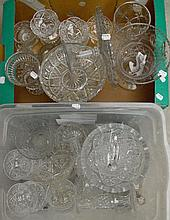 Two boxes of decorative glass including a large