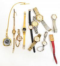 A collection of vintage watches including two