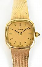 A 9ct gold cased lady's Omega manual wind
