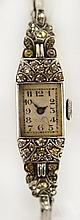 A vintage ladies wristwatch with rectangular dial