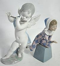 Two Lladro figures modelled as a jester and a