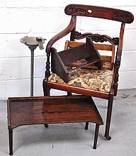 A 19th century elbow chair, an ashtray on stand