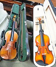 Two full size Chinese violins, both cased with