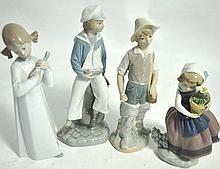 Four Lladro figures modelled as a sailor, farm