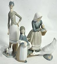 Three Lladro figures modelled as young woman with