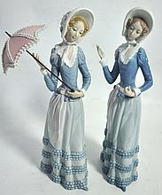 Two Lladro figures modelled as young women with